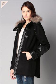 Manteau trapèze noir capuche fourrure Heden 2two prix Manteau Femme Monshowroom 255.00 €