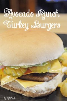Avocado Ranch Turkey Burgers.  Just need Avocado Ranch Dressing and frozen turkey burgers for this great summer time meal. #recipe #summertimerecipe #turkeyburgers