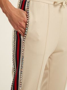 Click here to buy Gucci Crystal-embellished skinny-fit track pants at MATCHESFASHION.COM