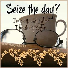 Seize the day? I am on it..right after I finish my coffee!
