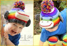 Handmade Knit Striped Sock Monkey Hat for boys Hand knitted & crocheted beanie toddlers and Kids.