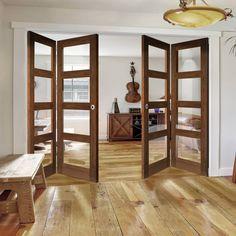 Four Folding Doors & Frame Kit - Coventry Walnut Shaker - Clear Glass - Prefinished Sliding Room Dividers, Room Divider Doors, Walnut Doors, Oak Doors, Sliding Glass Door, Sliding Doors, Internal Folding Doors, Room Partition Designs, Door Design
