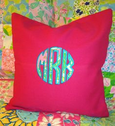 Pillow cover with Lilly Pulitzer fabric monogram. Fits 16 x 16 pillow insert (not included).    Please send the following in note to seller when