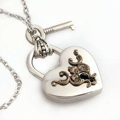 Steampunk Padlock Pendant  Key to My Heart  by TrashAndTrinkets, $48.00
