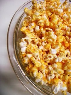 cheese popcorn: 1/4 cup popcorn kernels, popped 1 pkt cheese powder from a box of mac and cheese 1/2 tsp mustard powder cooking spray.