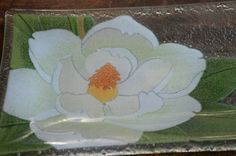Peggy Karr Glass  art glass  glass plate  magnolia by TroppoBella, $32.00