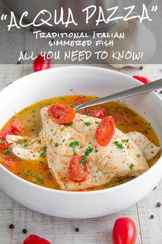 ACQUA PAZZA STYLE STEWED FISH - traditional Italian recipe and history - Acqua Pazza is a classic Italian recipe, healthy and tasty! This cooking method is originating of Southern-Italy and commonly attributed to the Neapolitan cuisine. Italian Chef, Italian Dishes, Italian Fish Recipes, Slow Cooker Recipes, Crockpot Recipes, Healthy Recipes, Neapolitan Recipe, Italy Food, Seafood Recipes