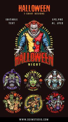 Colorful Halloween vector designs with Joker, Zombie, Vampires, Voodoo Girls, etc. 100% vector with editable text.