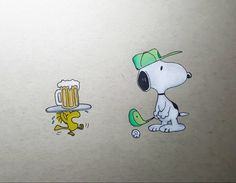 Snoopy and Woodstock hitting the golf course. Drawn with holbein colored pencils #snoopy #woodstock #peanuts #charlesschulz #golf #beer