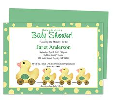 Baby Shower Invitations Templates : Family of Ducks Baby Shower Template