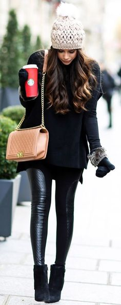 Black knit + leather