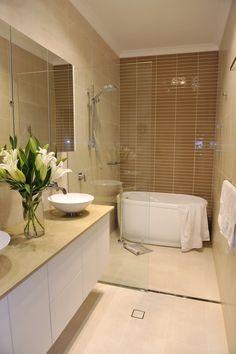 trendy ideas for bathroom tiles neutral wet rooms Bathroom Renos, Laundry In Bathroom, Simple Bathroom, Bathroom Layout, Bathroom Remodeling, Bathroom Ideas, Narrow Bathroom, Bathroom Bin, Gold Bathroom