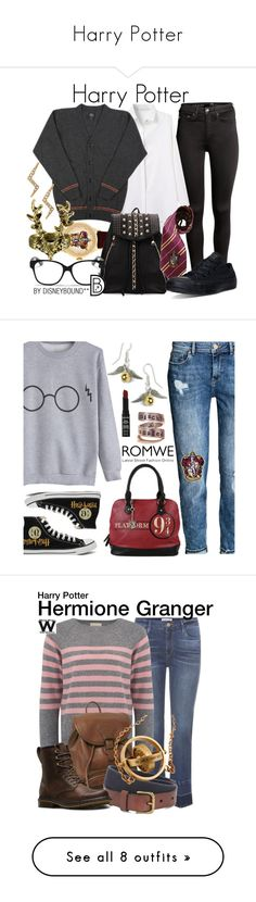 """""""Harry Potter"""" by ariannaburruel ❤ liked on Polyvore featuring H&M, Elope, Converse, Christian Dior, Stella & Dot, harrypotter, Hot Topic, NYX, romwe and Frame"""