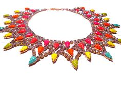 One of a Kind Hand painted Neon Vintage Rhinestone by PureEssentia, $190.00