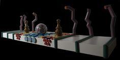 """""""Paesaggio orientale"""" legno dipinto e materiali vari, cm 30x110x27, 2013"""