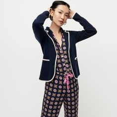 Class act! Meet the latest addition to our sweater-blazer collection, a preppy-inspired hybrid with tipped details and patch pockets.Hits at hip. Sweater Jacket, Jacket Dress, Blazers For Women, Sweaters For Women, Summer Sweaters, Crew Clothing, School Boy, Blazer Fashion, Tank Top Shirt