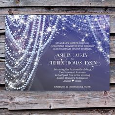 Wedding Invitation diamonds and pearls by ScriptedEverAfter, $3.25