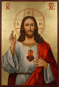 High quality hand-painted Orthodox icon of Jesus Christ Sacred Heart Large. BlessedMart offers Religious icons in old Byzantine, Greek, Russian and Catholic style. Religious Images, Religious Icons, Religious Art, Heart Of Jesus, Jesus Is Lord, Monastery Icons, Catholic Wallpaper, Catholic Art, Roman Catholic