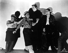ABBOTT & COSTELLO MEET FRANKENSTEIN (1948) - Bud Abbott (pictured) - Lou Costello (pictured) - Lon Chaney - Bela Lugosi (pictured) - Glenn Strange (pictured) - Lenore Aubert - Jane Randolph - Directed by Charles Barton - Universal-International - Publicity Still.