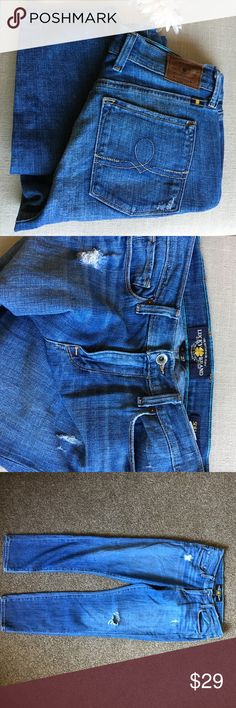 """🆕 Lucky Brand Sofia Capri Jeans size 4 These Lucky Brand Sofia Capri Jeans size 4 or 27 are in great condition! Very stylish and trendy and super comfortable too! I love the wash and distressed style, wish these were my size! Selling for a friend but offers welcome! Inseam measures 26.5"""" and rise is 9"""". Lucky Brand Jeans"""