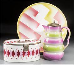 Three Spritzdekor Art Deco Ceramic Table Items, circa 1930 Marks: (... Lot 65837