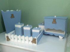 Kit higiene para bebê Poá Azul