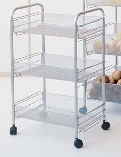 Mesh Wire Rolling Cart – Caster Wheels – Durable Metal Frame – Chrome Silver Finish – Utility Trolley Organizer Storage Rack for Home and Office – Easy Assembly – x x Kitchen Islands For Sale, Kitchen Island Cart, Kitchen Storage Cart, Storage Rack, Food Storage, Storage Ideas, Cheap Dining Room Sets, Microwave Cart, Best Dining