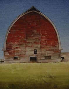 Weathered June by Joseph Alleman Watercolor ~ x Watercolor Architecture, Watercolor Landscape, Watercolor Paintings, Watercolors, Abstract Landscape, Salt Lake City, Gouache, Barn Pictures, San Francisco