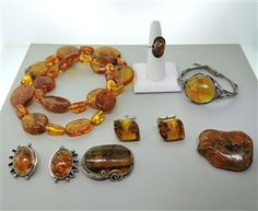 Lot of Sterling Amber Jewelry. Available @ hamptonauction.com at the Fine Jewelry Watches Coins and Collectibles Auction on November 24th, 2014! Come preview our catalog!