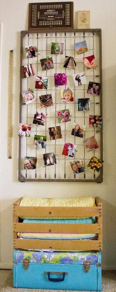 Love this photo display DIY from crib springs.