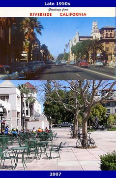 Riverside Main Street Then & Now - Before there was a Main St Pedestrian Mall in downtown Riverside there was an actual Main St, with cars and curbside parking. Seen here in photos approximately 50 years apart is a view of Main St looking north toward Mission Inn Ave (formerly Seventh St) from near University Ave (formerly Eighth St). On the far right is the historic Mission Inn and on the far left, with its pyramid-shaped, red-tiled roof, is the Loring Building, which was built in 1890.