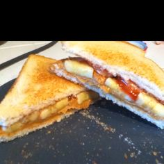 My adapted sandwich recipe from the show Sandwich King (Dessert Sandwich Episode.) Instead of having chips, cinnamon cereal as a topping, and frying it, I toasted my bread and added Strawberry Jam/Jelly, Bananas, and Creamy Peanut Butter. :) Please link back to me if you repin!