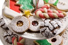 choc crinkle, stain glass cookie, sugar/press cookie candy cane cookie, & cut outs