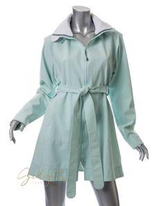 Lululemon Size 10 Mint Seafoam Green Belted Rain Trench Coat Hooded #lululemon #Raincoat #GidgetLovesFashion #Green