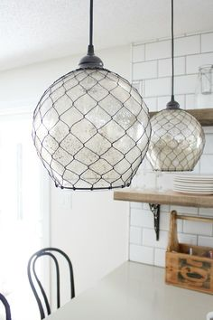 54 Ideas For Farmhouse Lighting Pendant Chicken Wire Pantry Projects Hometalk - I curated an awesome group of pantry projects on Hometalk. Details on Those Gorgeous Lights + Sneak Peeks Chicken Wire Crafts, Kitchen Lighting Fixtures, Ikea Light Fixture, Coastal Light Fixtures, Dining Room Light Fixtures, Hanging Light Fixtures, Hanging Lights, Style Deco, Kitchen Pendants