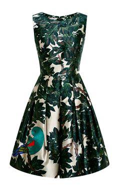 Embroidered Silk-Blend Mikado Dress by Oscar de la Renta - Moda Operandi