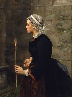 """Jules Breton    """"Woman with a Taper"""""""