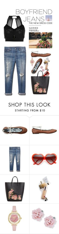 """Borrowed from the Boys: Boyfriend Jeans"" by shortyluv718 ❤ liked on Polyvore featuring Frances Valentine, Gap, MANGO, Memo Paris, Kate Spade, Palm Beach Jewelry, River Island and boyfriendjeans"