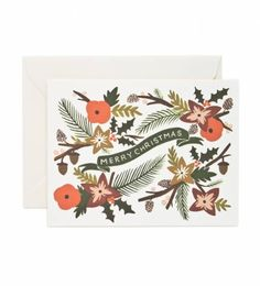 Rifle Paper Co. - Christmas Garland - Available As A Single Folded Card Or Boxed Set Of 8