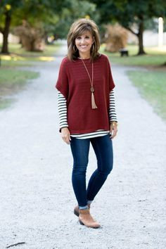 Fall Fashion-Poncho Sweater & Stripe Tee - Grace & Beauty