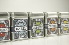 Art Nouveau inspired Spice Tins  set of 6 by SistudioDesign, $17.00