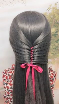 Hair-style knitting skills with ribbons Ribbon tying - Beliebt Haar Und Beauty Easy Hairstyles For Long Hair, Ponytail Hairstyles, Cute Hairstyles, Wedding Hairstyles, Beautiful Hairstyles, Hairstyles Videos, Summer Hairstyles, Ribbon Hairstyle, Braid Hair