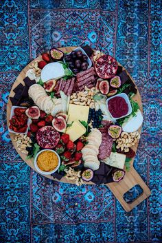 Turquoise Wandering Folk Picnic rug - How to create the most instagramable platter