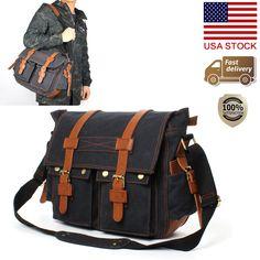 Men's Messenger Bag Military Leisure Canvas Satchel School Shoulder School Bag #Unbranded #MessengerShoulderBag
