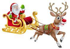 Transparent Christmas Santa and Sledge PNG Clipart