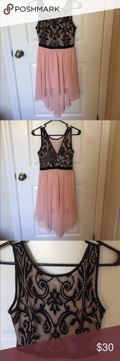 🌸Love Culture Pretty Pink & Black Lace Dress🌸 Black lace top with flowing pale pink skirt. Underskirt is shown in picture. Love Culture Dresses