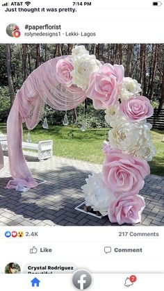 Pastel and Golds for a Traditional Outdoor Thailand Wedding Ceremony Wedding Stage Decorations, Wedding Centerpieces, Flower Decorations, Paper Flowers Wedding, Wedding Paper, Paper Flower Backdrop, Giant Paper Flowers, Partys, Backdrops For Parties