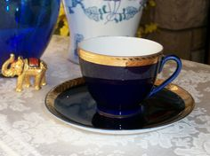 Lomonosov Cobalt gold trimmed tea cup and saucer