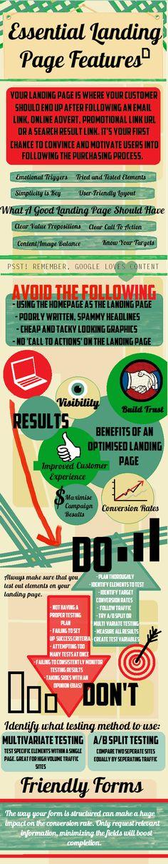 Características esenciales de un Landing Page #infografia #infographic #infographic