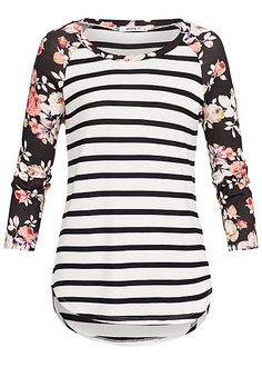 Seventyseven Lifestyle Damen Arm Shirt Streifen Blumen Muster off weiss schw… Seventyseven Lifestyle Ladies sleeve shirt stripes floral pattern off white black red – Sewing Clothes, Diy Clothes, Streetwear Shop, Young Fashion, Floral Stripe, Maternity Dresses, Fashion Outfits, Womens Fashion, Shirt Sleeves
